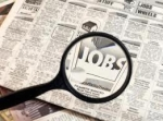 Newspaper classifieds with Jobs heading