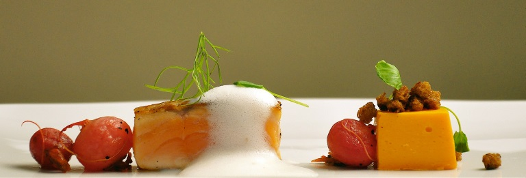 Modern Salmon a La Nage: Flash-Seared Salmon with Fish Milk Foam, Radish  Confit, Carrot Mousse, Baby
