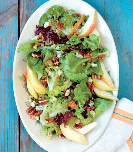 Pear, Stilton and Bacon Salad with Honey-Glazed Pecans
