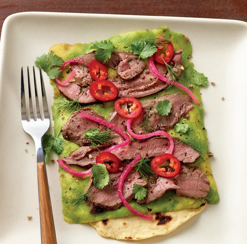 Grilled Lamb Heart and California Avocado Flatbread