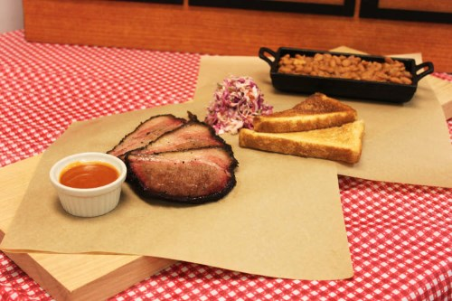 Central Texas Beef Brisket Barbecue with Traditional Sides