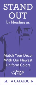 Happy Chef:  Stand out by blending in. Match your decor with our newest uniform colors. Get a catalog