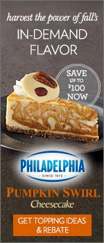 Harvest the power of fall's in-demand flavor:  save up to $100 now on Philadelphia Pumpkin Swirl Cheesecake