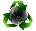 Recycle logo wrapped around Earth