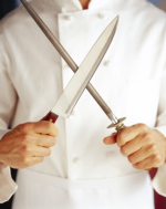 Chef holding knives