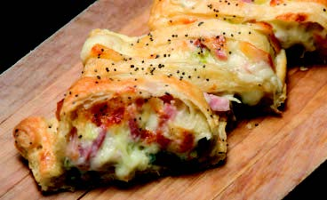 Ham, Swiss Cheese and Cabbage Strudel