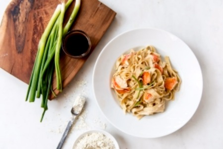 Pepper Tagliatelle Pasta with Lobster & Vanilla Cream Sauce