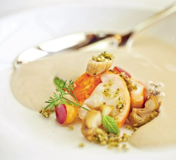 Malted Parsnip Soup, Butter-Poached Lobster, Tangerine and Vanilla