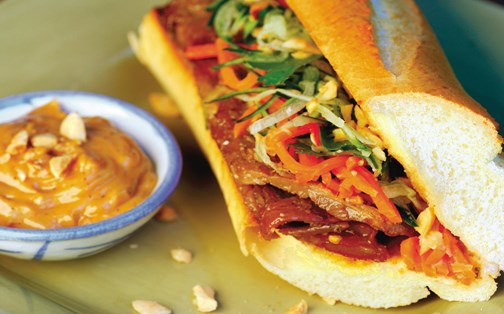 Vietnamese Pork Bahn Mi with Spicy Peanut Aioli
