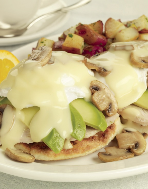 Turkey/Mushroom/California Avocado Benedict
