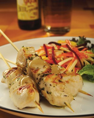 Chicken Skewers with Root Vegetable Slaw and SunButter Sauce