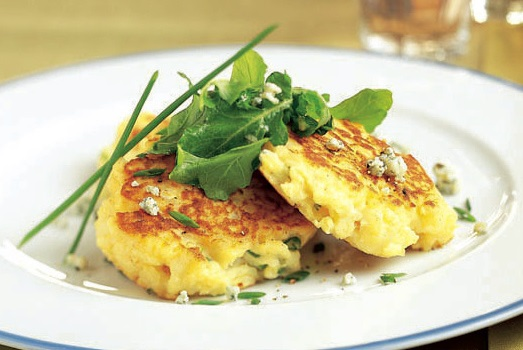 Bacon/Chive Potato Pancakes with Arugula Salad