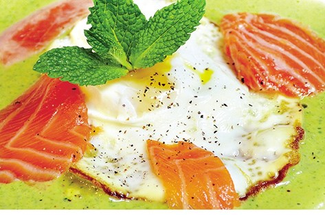 Salmon Crudo over Sunny-Side Egg and Peanut Butter/Mint Sauce