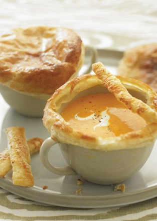 Cream of Tomato Soup in Puff Pastry