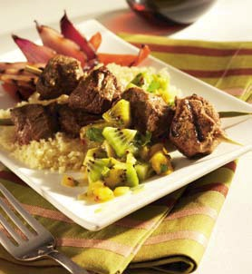 Lamb Kabobs with Kiwifruit Chutney