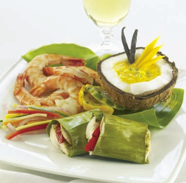 Mahi Mahi Wrapped in Banana Leaves with Vanilla Maple Shrimp and a Spicy Mango Sauce