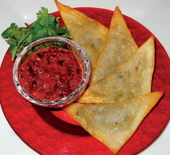 Crispy Lamb Wontons with Cranberry Salsa