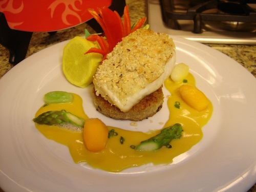 Almond Crusted Sea Bass