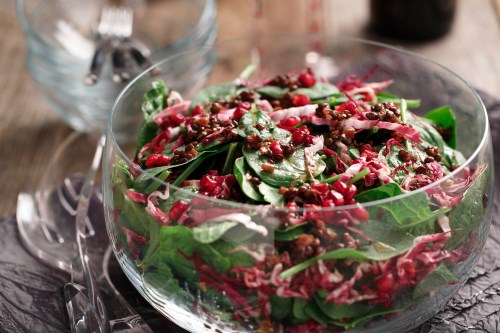 Warm Cocoa Chili Lentil Salad with Pomegranate Gems
