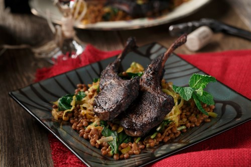 Espresso Marinated Lamb Chops with Smoky Lentils