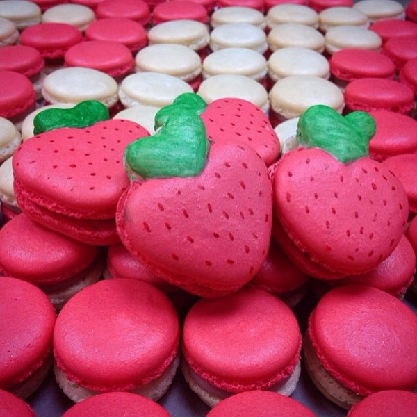Strawberries and Cream Macarons