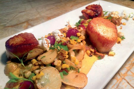 Scallops with Lobster Fingerling Hash and Corn Sauce