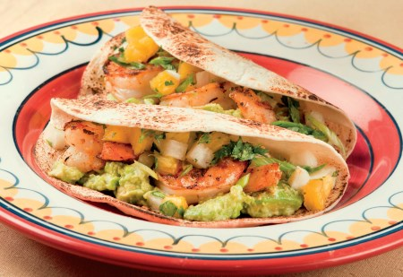 Grilled Shrimp Tacos with Lime-smashed Avocado and Jicama/Pineapple Salsa