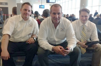 Chef Grupe, Chef Tancredi and Chef Leonardi of ACF Culinary Team USA at the airport, ready to board for Germany